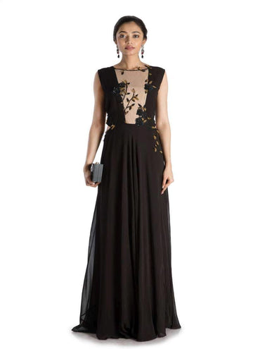 Stunning Black Color Georgette Fabric Gown