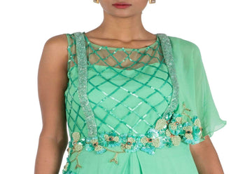 Stunning Turquoise Color Georgette Fabric Indowestern