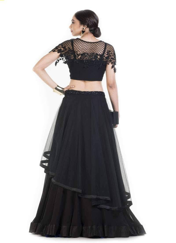 Gorgeous Black Color Georgette Fabric Indowestern
