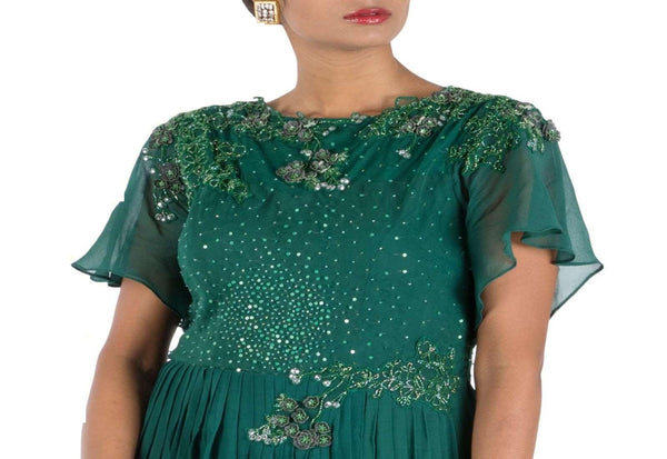 Stunning Green Color Georgette Fabric Gown