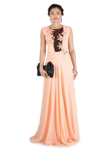 Stunning Peach Color Georgette Fabric Gown