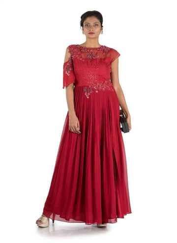 Stunning Maroon Color Georgette Fabric Gown