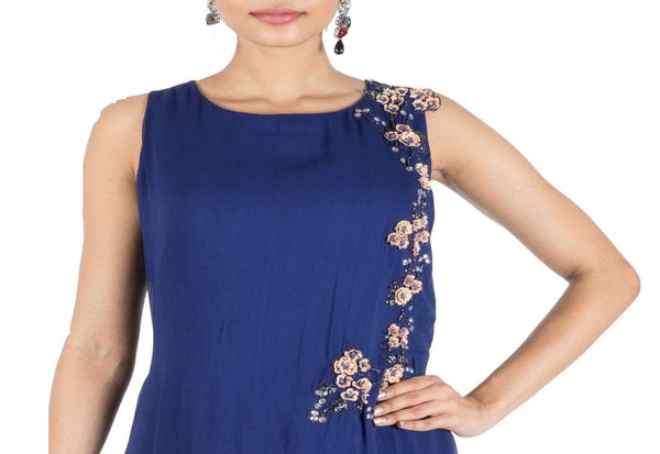 Stunning Blue Color Georgette Fabric Indowestern