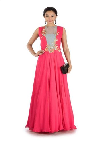 Stunning Coral Color Georgette Fabric Gown