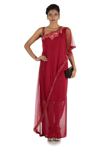 Stunning Maroon Color Lycra Fabric Gown