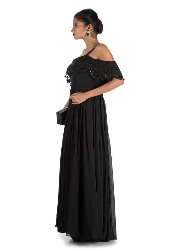 Stunning Black Color Georgette Fabric Indowestern