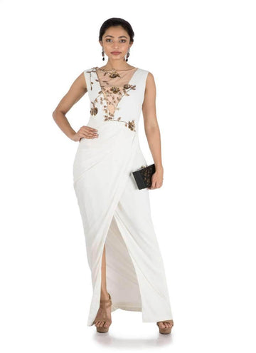 Stunning White Color Georgette Fabric Indowestern
