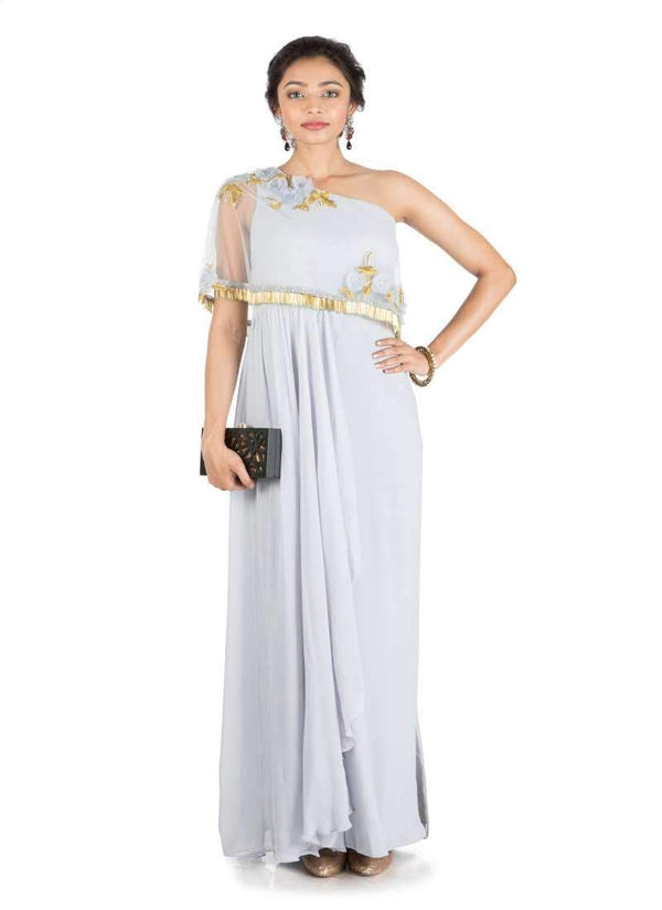 Stunning Grey Color Lycra Fabric Gown