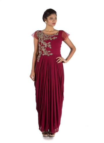Stunning Wine Color Georgette Fabric Gown