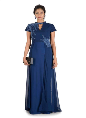 Stunning Navy Blue Color Georgette Fabric Gown