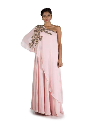 Stunning Pink Color Georgette Fabric Gown