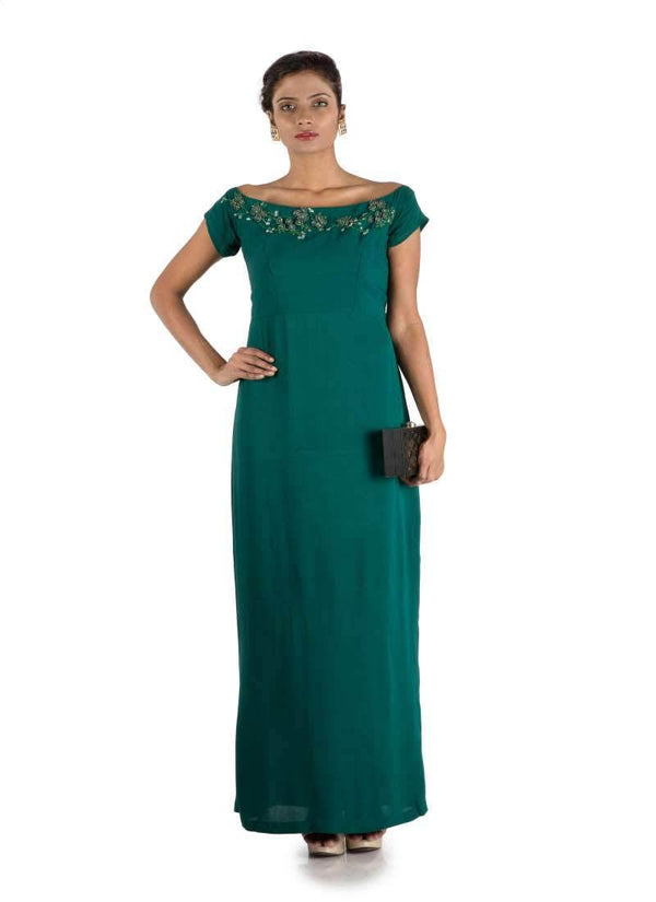 Stunning Teal Color Georgette Fabric Gown