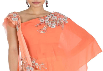 Stunning Orange Color Georgette Fabric Indowestern