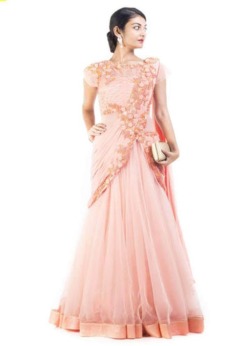 Sensational Peach Color Lycra Fabric Gown