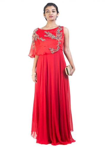 Sensational Red Color Georgette Fabric Gown