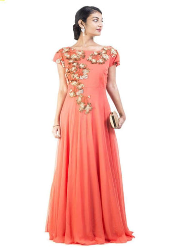Sensational Orange Color Georgette Fabric Gown