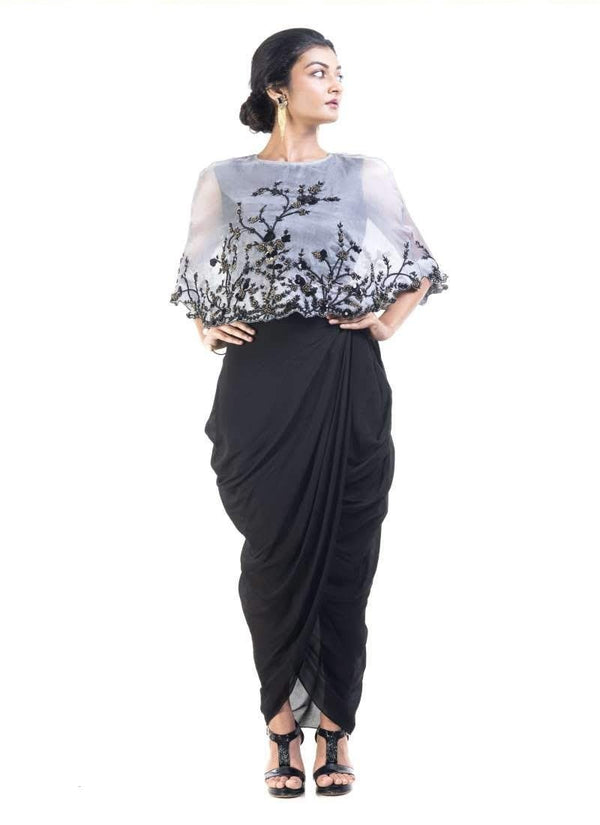 Sensational Grey Color Silk Fabric Indowestern