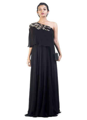 Sensational Black Color Georgette Fabric Gown