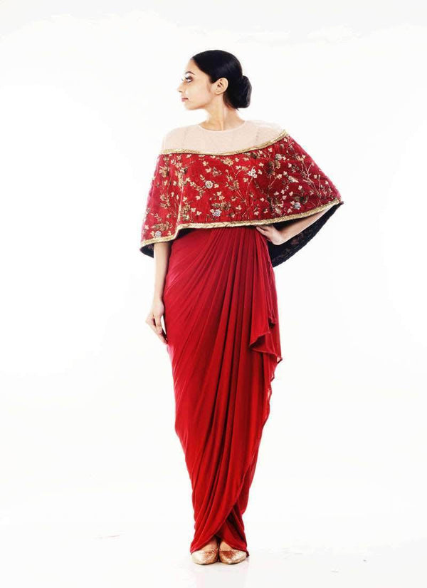 Adorable Maroon Color Silk Fabric Indowestern
