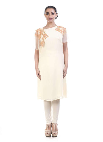 Stunning White Color Georgette Fabric Kurti