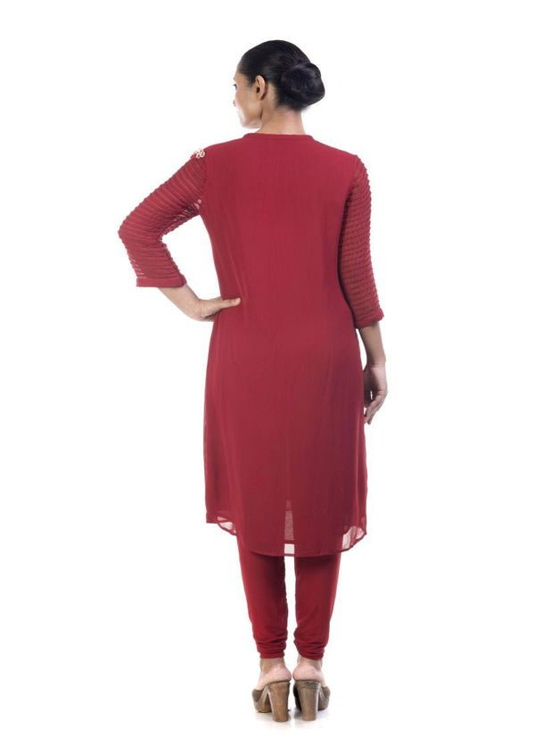 Stunning Red Color Georgette Fabric Kurti