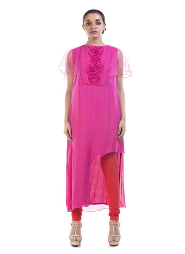 Stunning Pink Color Georgette Fabric Kurti