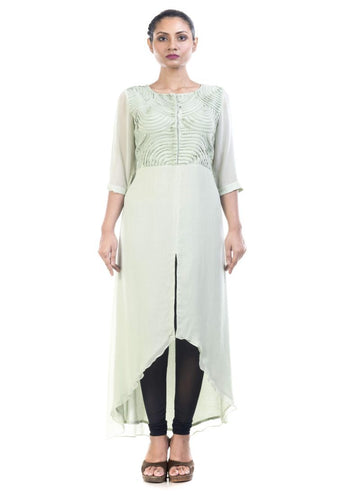 Stunning Green Color Georgette Fabric Kurti