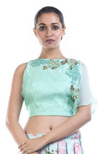 Stunning Aqua Color Organza Fabric Lehenga Choli