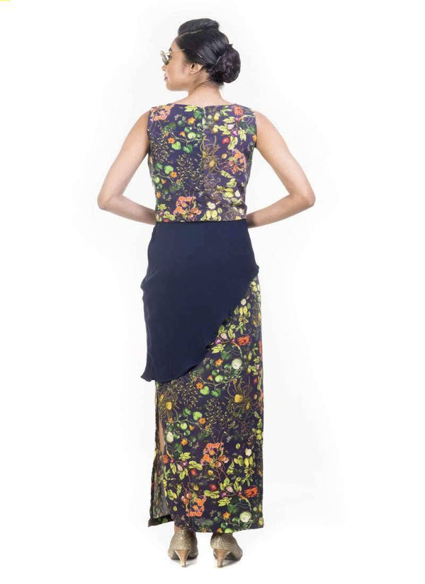 Exclusive Navy Blue Color Crepe Fabric Indowestern