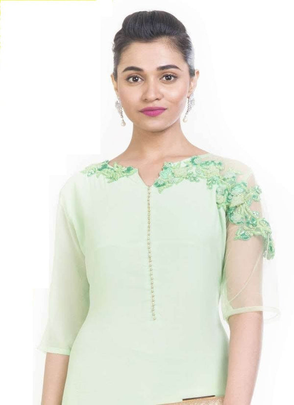 Exclusive Turquoise Color Georgette Fabric Designer Kurti