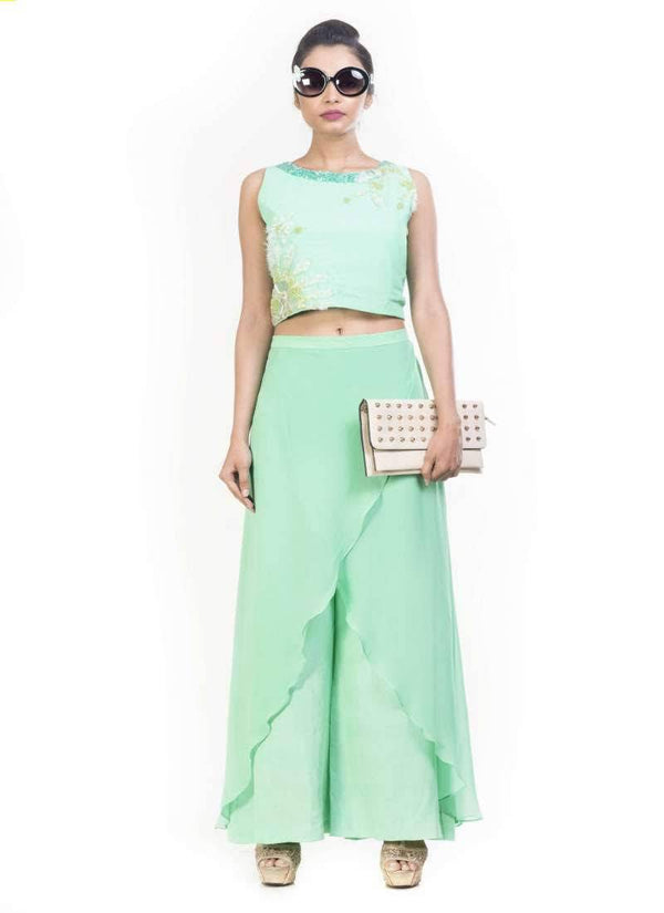 Exclusive Turquoise Color Crepe Fabric Crop Top Palazzo Set