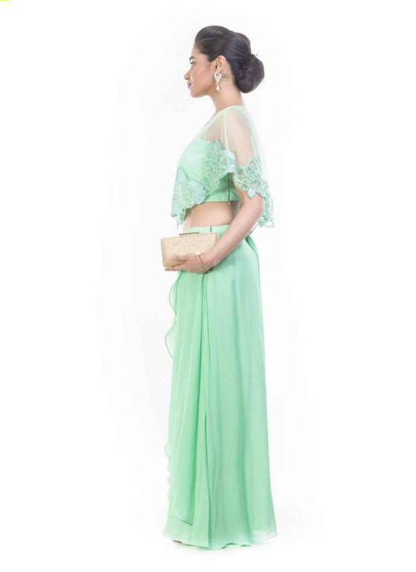 Exclusive Turquoise Color Crepe Fabric Indowestern