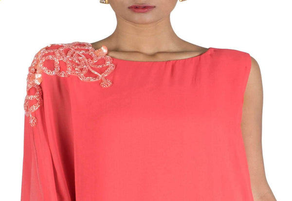 Stunning Coral Color Georgette Fabric Designer Kurti