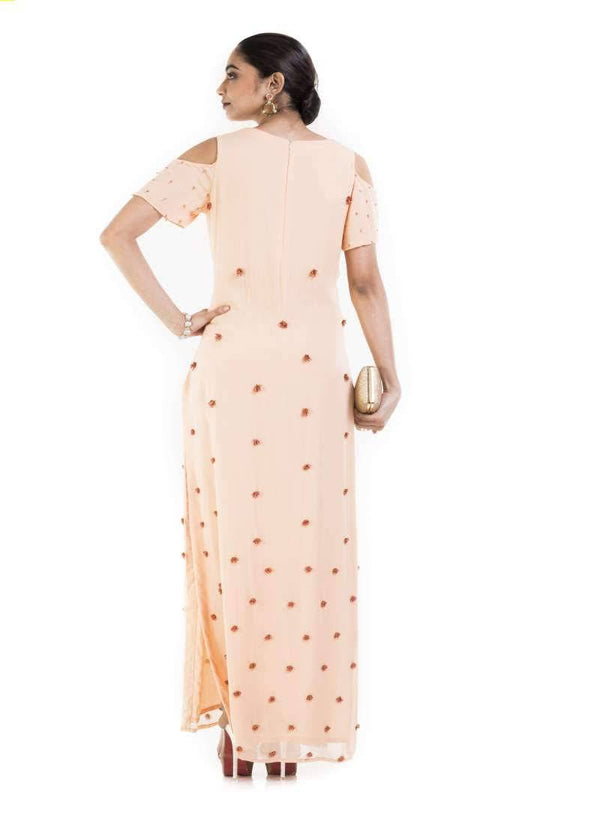 Gorgeous Peach Color Georgette Fabric Designer Kurti
