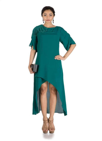 Stunning Green Color Crepe Fabric Designer Kurti