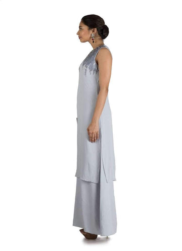 Stunning Grey Color Georgette Fabric Gown