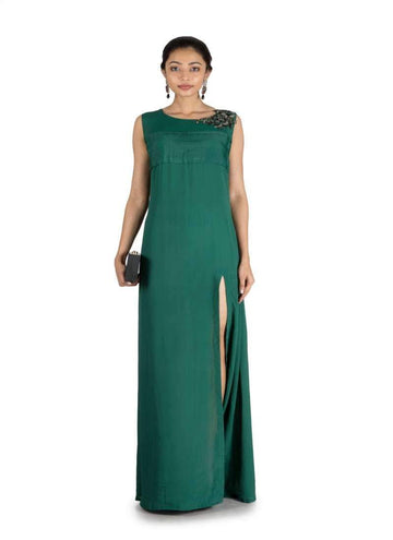 Stunning Green Color Crepe Fabric Indowestern