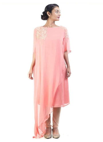 Sensational Pink Color Georgette Fabric Designer Kurti
