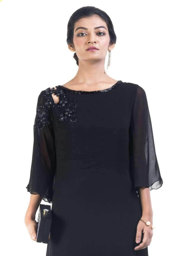 Sensational Black Color Georgette Fabric Indowestern