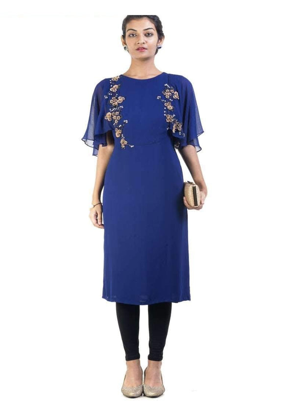 Sensational Blue Color Georgette Fabric Designer Kurti