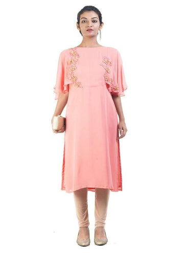 Sensational Peach Color Georgette Fabric Designer Kurti