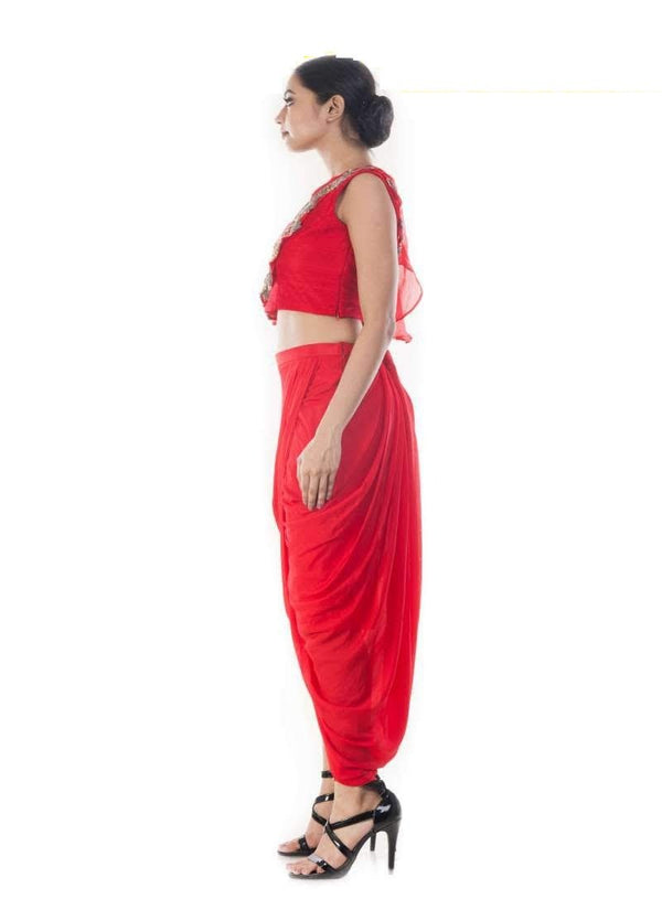 Stunning Red Color Organza Fabric Indowestern