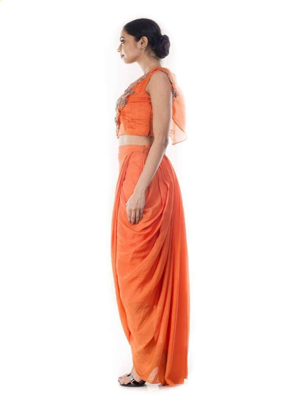 Stunning Orange Color Organza Fabric Indowestern