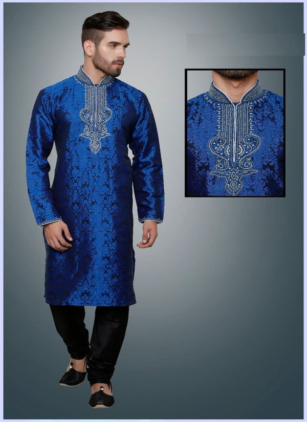 Elegant Blue Color Resham Fabric Mens Wear