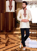 Dazzling Cream Color Silk Fabric Mens Wear