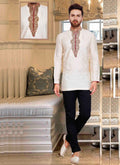 Dazzling Cream Color Resham Fabric Mens Wear