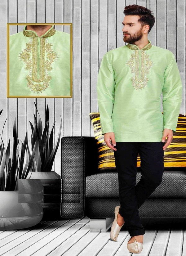 Dazzling Green Color Silk Fabric Mens Wear