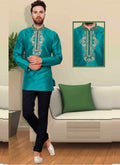 Dazzling Teal Color Silk Fabric Mens Wear