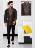 Dazzling Black Color Silk Fabric Mens Wear