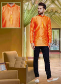 Dazzling Orange Color Silk Fabric Mens Wear